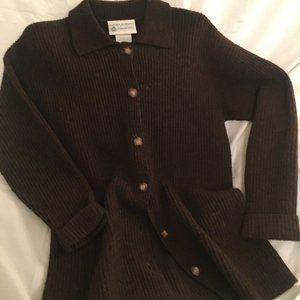 Vintage Laura Ashley Brown Wool Button Cardigan